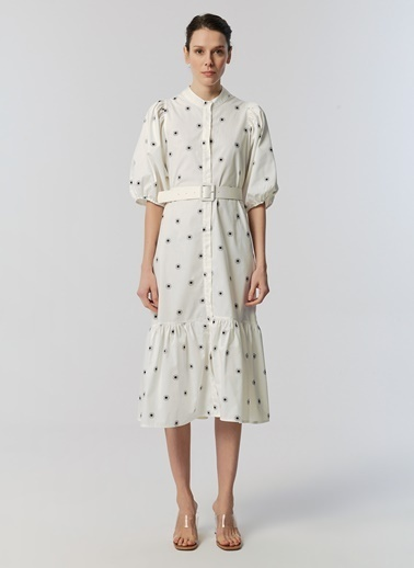Monamoda Papatya Desen Prenses Kol Elbise Beyaz